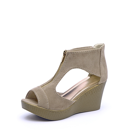 Beige Zip Design Peep Toe Wedge Sandals