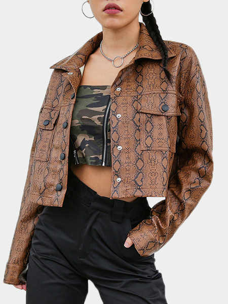 Snake Single Breasted DesignClassic Collar Long Sleeves Jackets With Side Pockets