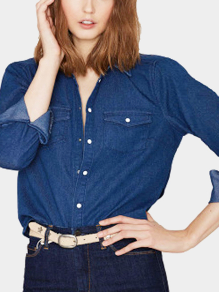 Blue Sexy Backless All-matched Shirt