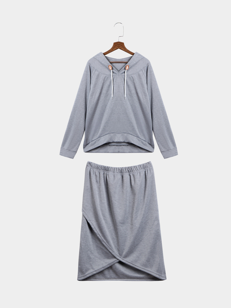 Grey Hooded Top & Cross Front Shirt Co-ord