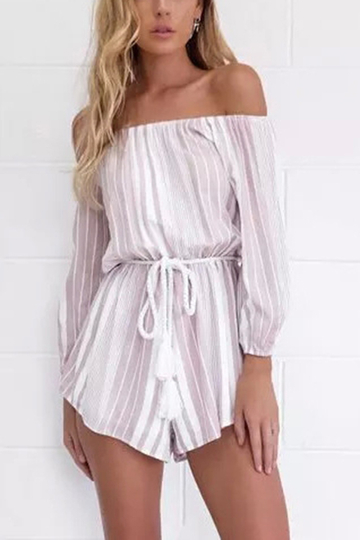 Stripe Pattern Off-shoulder Long Sleeves Waist Tie Playsuit With Tassel Detail