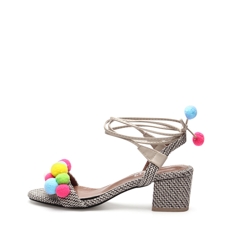 Grey Woven Strap Across With Pompoms Lace-up Heeled Sandals