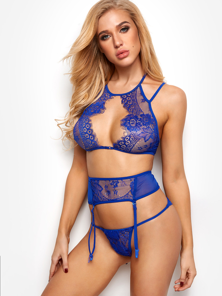 Blue Suspender Design Eyelash Lace Trim Cut Out Chest Lingerie Set