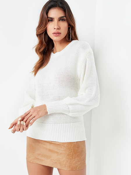 White Backless Tie-up Design Knitting Sweater