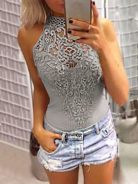 Grey Sexy Floral Lace Insert Overlay Hollow Out Halter Neck Sleeveless Bodysuit