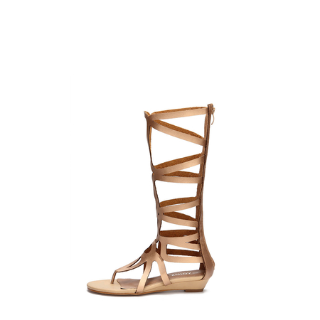 Golden Zip Back Caged Gladiator Flat Sandals
