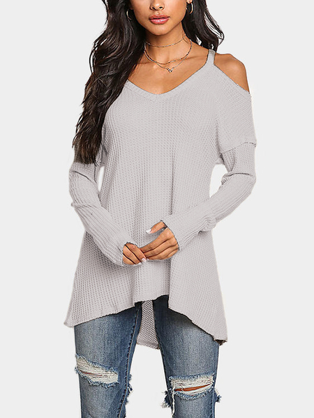 Khaki Cold Shoulder Long Sleeves Knitted Top