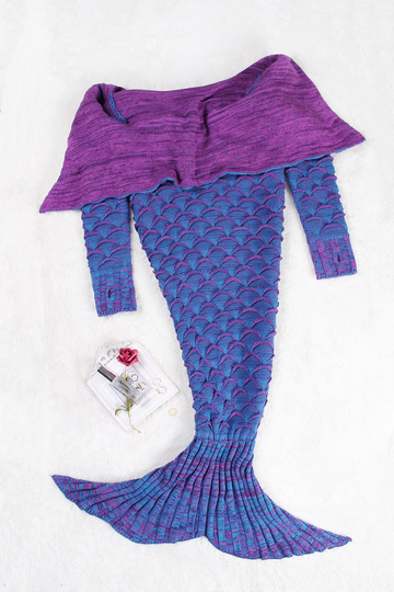 Bluish Violet Knit Textured Mermaid Blanket With Long Sleeves