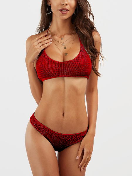 Red Plain Halter Bikini Set