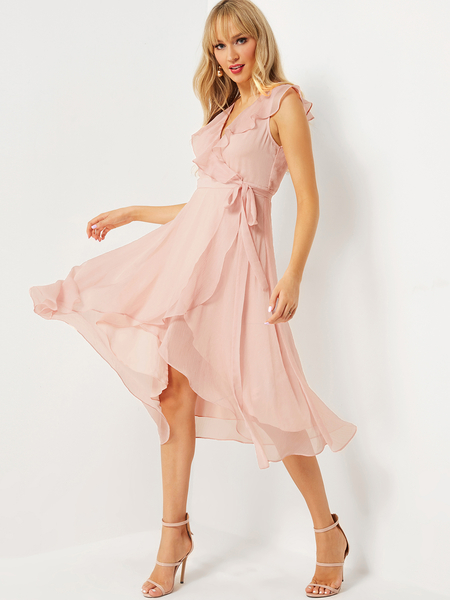 Pink Ruffle Details Wrap Dress with Belt