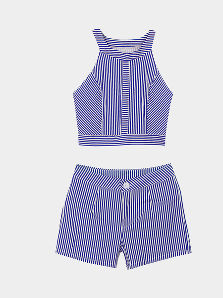 Stripe Pattern Crew Neck Sleeveless Top & Shorts Co-ord