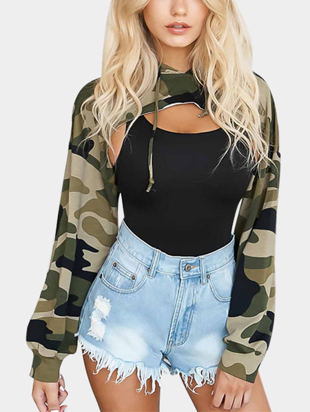 Camo Hoodies Cut Out Chest Front Top