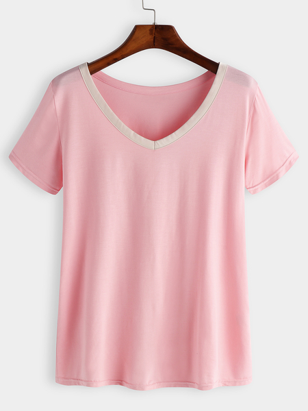 Pink V-neck Short Sleeves Pajama Set