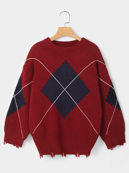 Red Geometrical Round Neck Long Sleeves Ripped Sweater