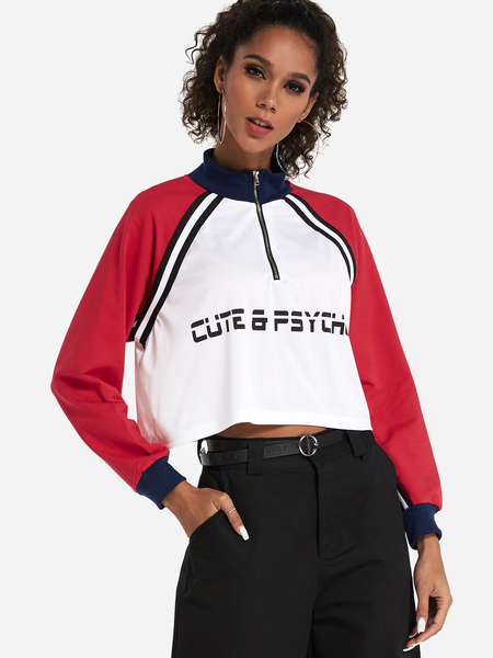 Red Zip Design Letter Pullover Long Sleeves Cropped Sweatshirt