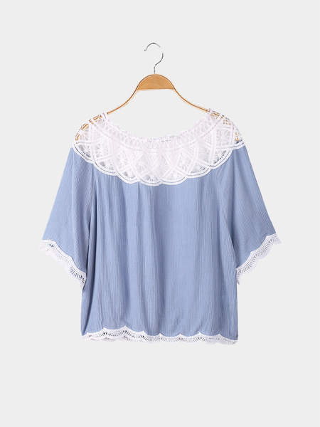 Grey Blue Loose Off Shoulder Lace Trim Top