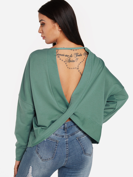 Green Backless Design Round Neck Long Sleeves Sexy Sweatshirt