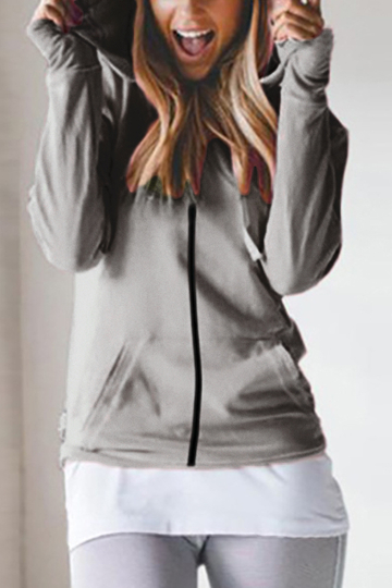 Grey Hooded Design Long Sleeves Zip Front Coat