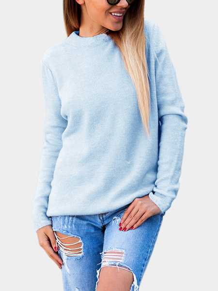 Sky Blue Two-way Wear Long Sleeves Crew Neck Sexy Sweater