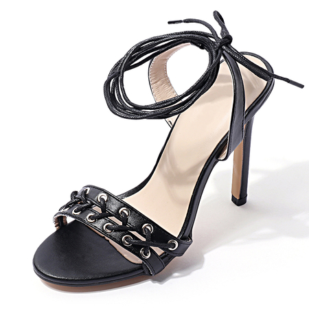 Black Leather Look Lace-up Ladies Heeled Sandals