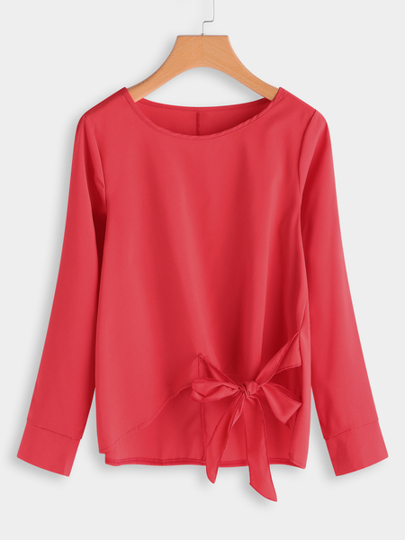 Red Plain Bowknot Design Round Neck Long Sleeves Blouses