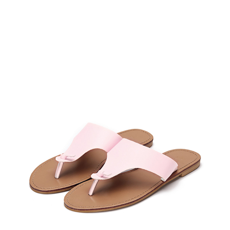 Pink Leather Look Simple Style Toe Post Flat Slippers