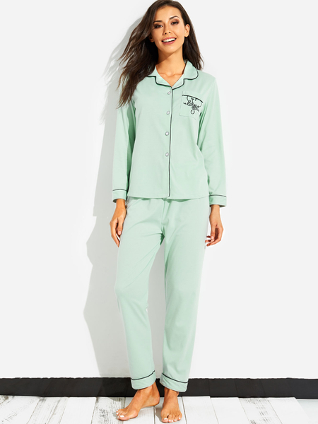 Light Green Casual Pocket Front Pajamas Set