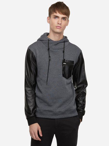 Drak Gray Street Style Leather And Cotton Blocking Chimney Collar Zipper Pocket Pullover Hoodie