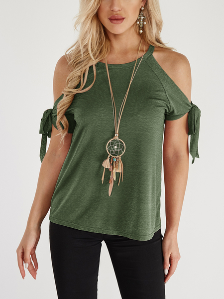 Green Lace-up Design Crew Neck Short Sleeves T-shirts