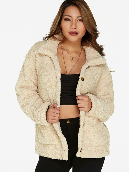 Beige Fluffy Faux Fur Turn-down Collar Long Sleeves Coat