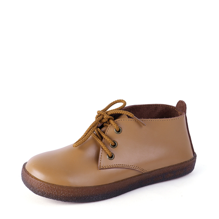Yoins Brown Genuine Leather Lace-up Short Boots