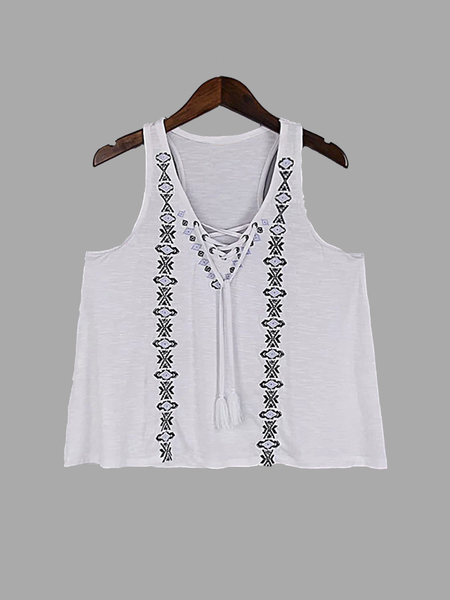 White Printed Lace-up Design Cami
