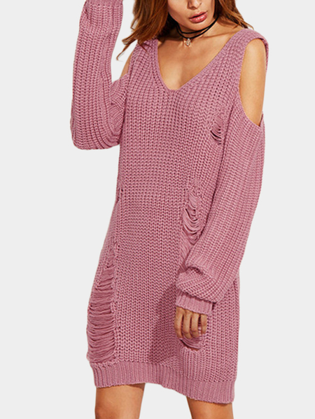 Pink Ripped Details V-neck Long Sleeves Sweater