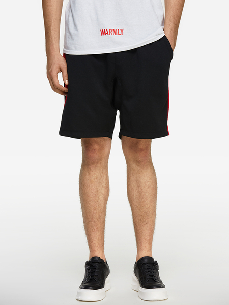 Summer Black With Red Side Stripes Elastic Waist Men's Casual Shorts