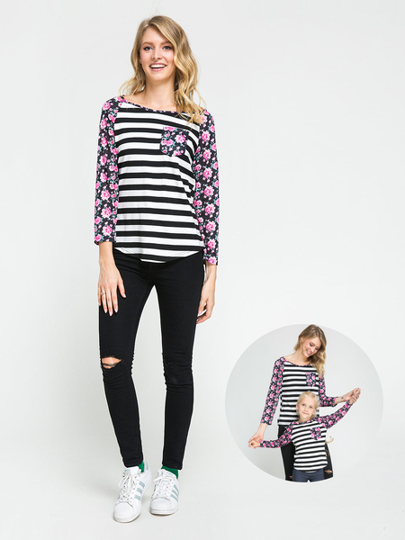 Floral Striped Print Mom and Daughter Matching T-Shirts - Mom