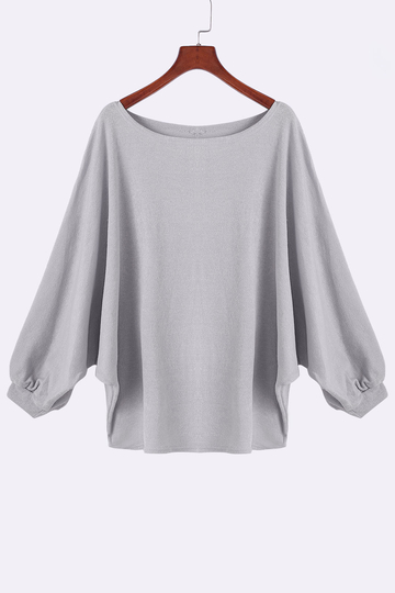 Grey Crew Neck Dolman Sleeve Sweater