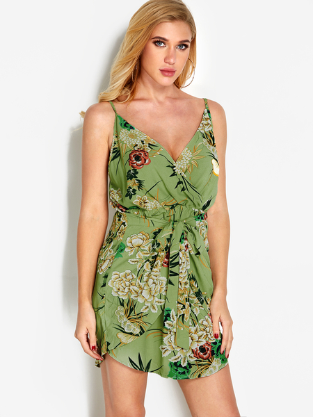 Green  Floral Print V neck Backless Sexy Dress