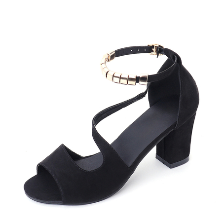 Black Chunky Heel Sandals with Ankle Strap
