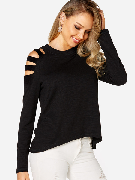 Black Lace-up Design Cold Shoulder Long Sleeves T-shirt
