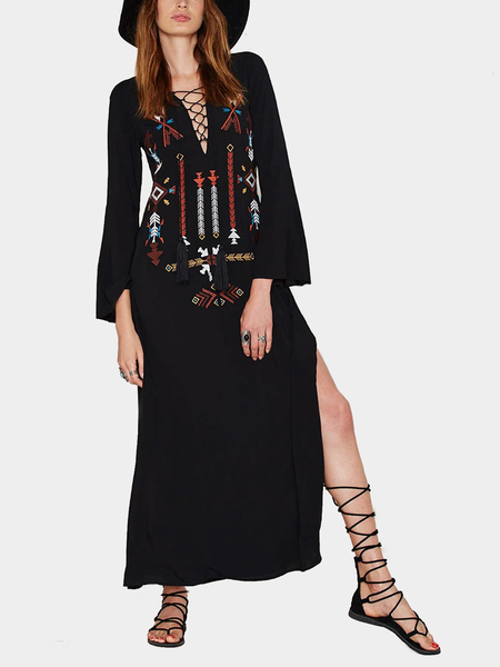 Lace Up Embroidery Maxi Dress with Side Splits