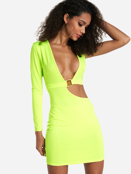 Sexy Fluorescent Green Cut Out One shoulder Dress