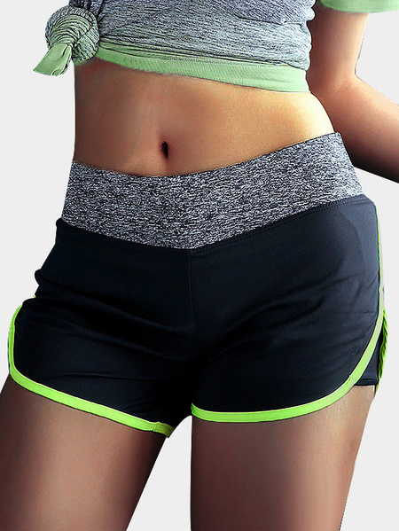 Black and Green Double-layer Gym Shorts