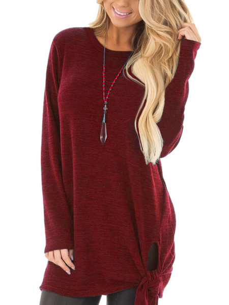 Burgundy T-shirts With Side Slits and Tie Details