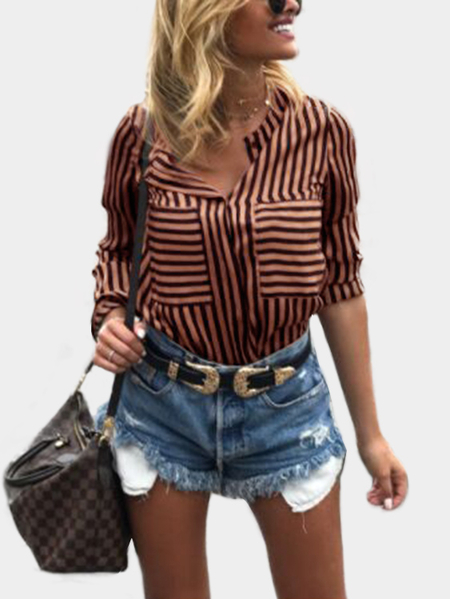 Multicolor Stripe Pattern Classic Collar Long Sleeves Shirt
