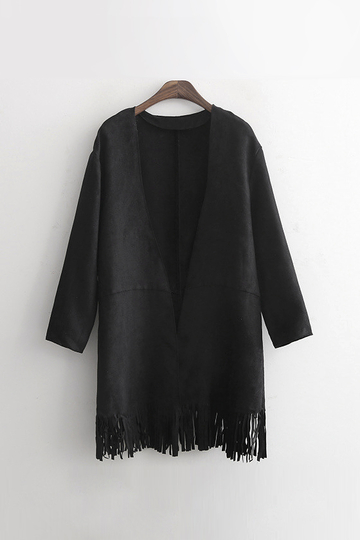 Black Suedette Long Sleeve Coat with Fringing