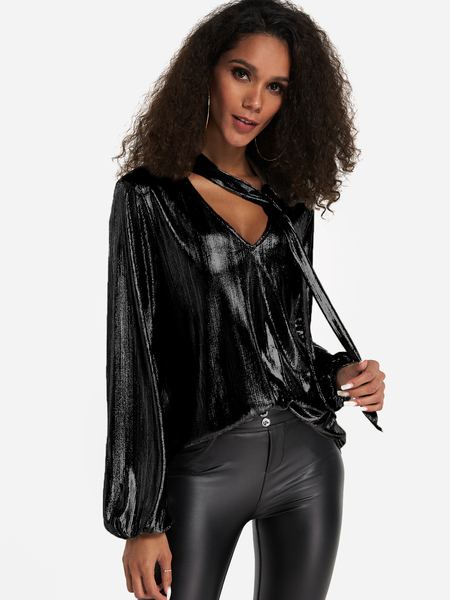 Black Foil Metallic Choker Neck V-cut Chest Blouse