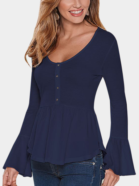 Navy Pleated Design V-neck Long Sleeves Blouses