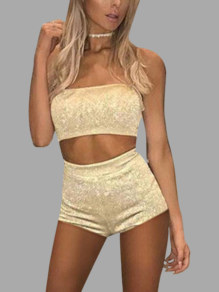 Khaki Off Shoulder Sleeveless Short Two Piece Outfits