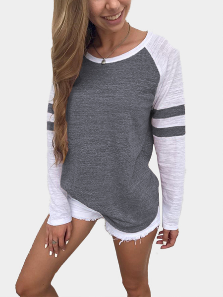Dark Grey Spell Color Round Neck Long Sleeves T-shirt
