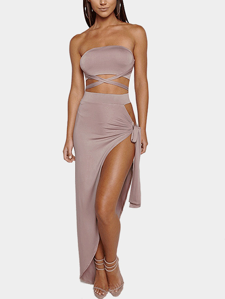 Nude Sexy Self-tie Top & Slit Design Skirt Two Piece Outfits